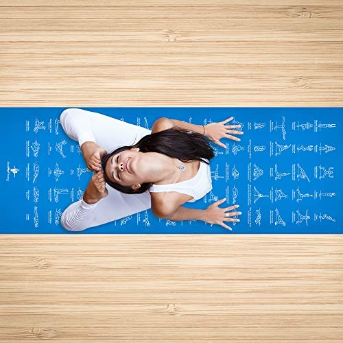 "NewMe Fitness Instructional Yoga Mat, Blue, Printed w/ 70 Illustrated Poses, 24"" Wide x 68"" Long, for Women & Men : Non Slip, Eco Friendly PVC, Non Toxic : for Home or Gym : 5mm Thick - SkinnyMinx"