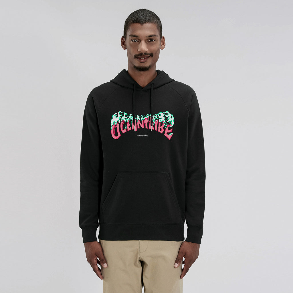 Huemankind OceanTribe Men Organic Cotton Hoodie (Pink) - Huemankind.World