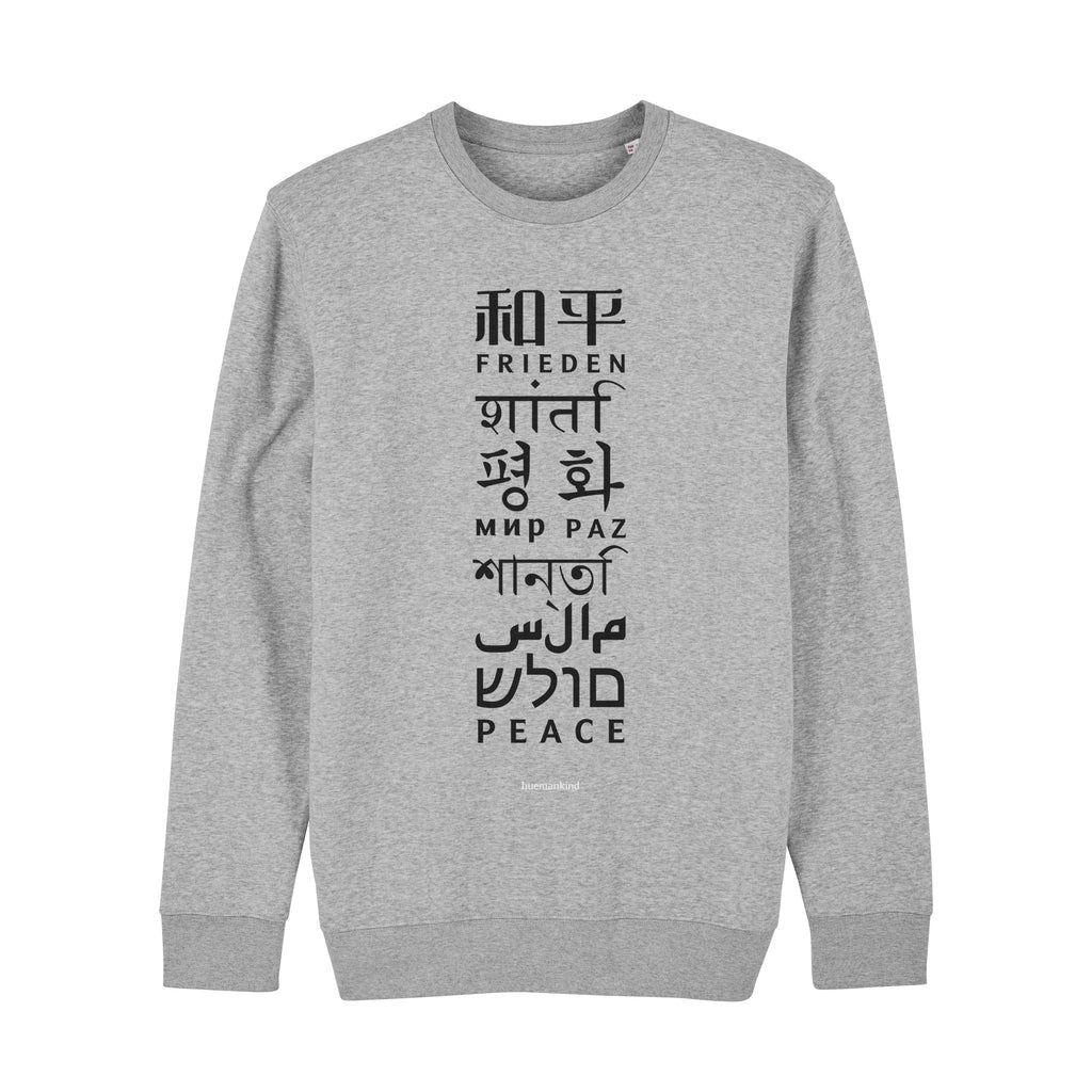Huemankind Peace Language Men Organic Sweatshirt - Huemankind.World