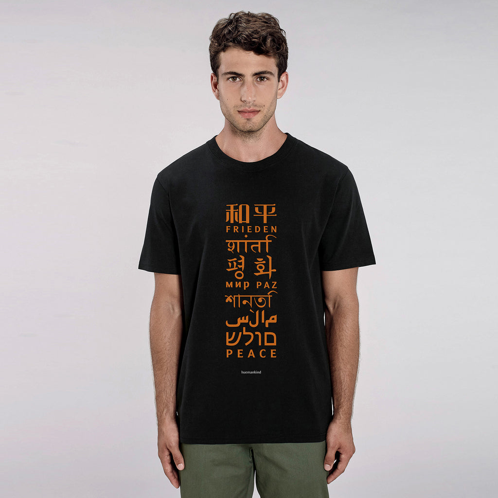 Huemankind Peace Language Men 100% Organic Cotton T-Shirt - Huemankind.World