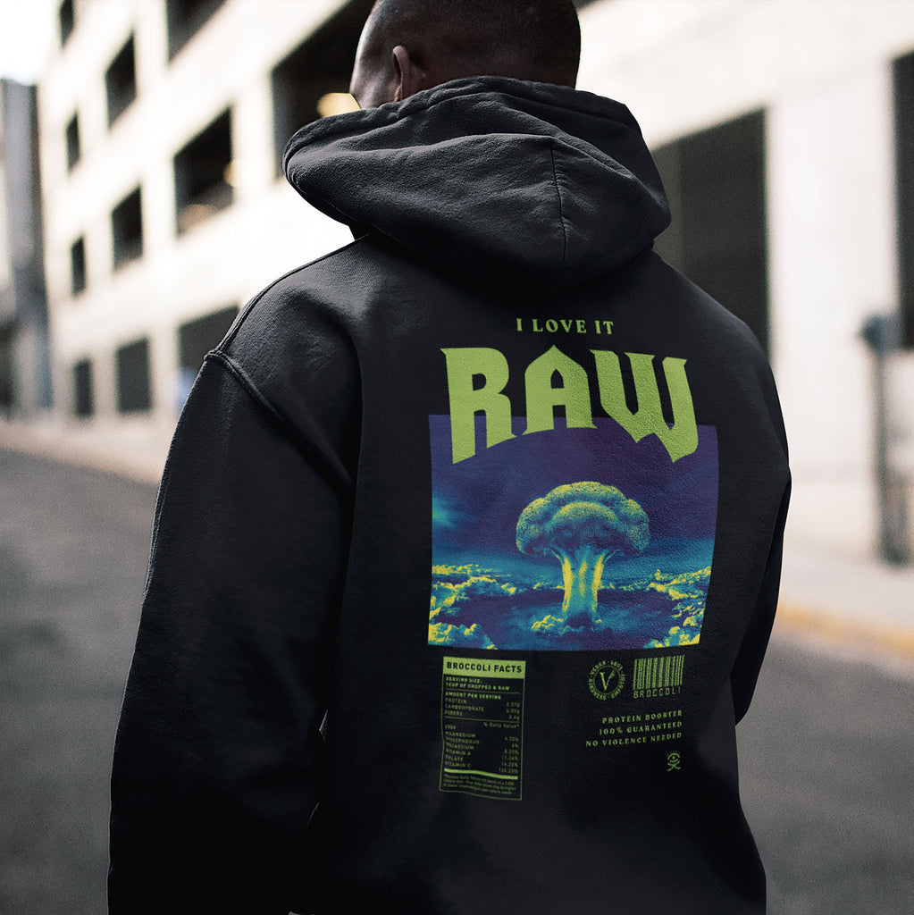 Huemankind I Love It Raw Men Organic Cotton Hoodie - Huemankind.World