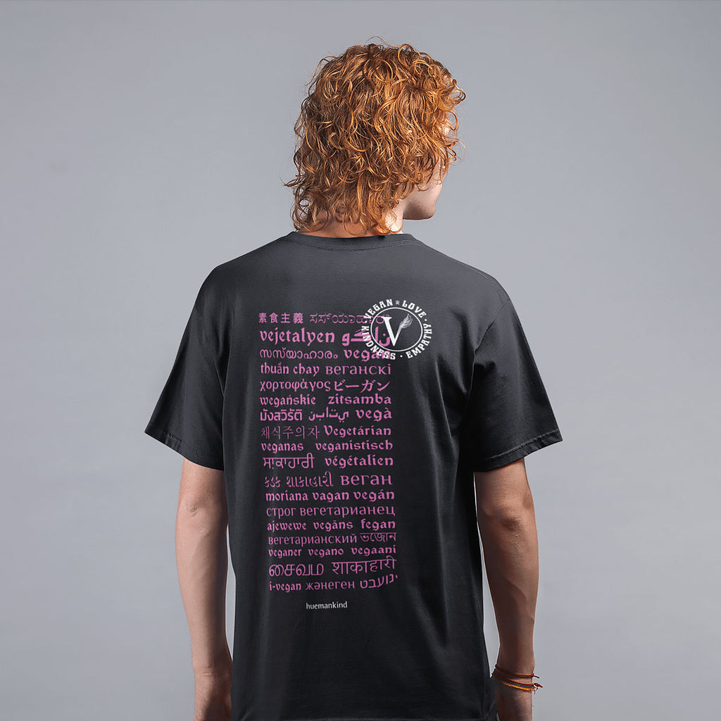 Huemankind Vegan Revolution Language Men 100% Organic Cotton T-Shirt - Huemankind.World