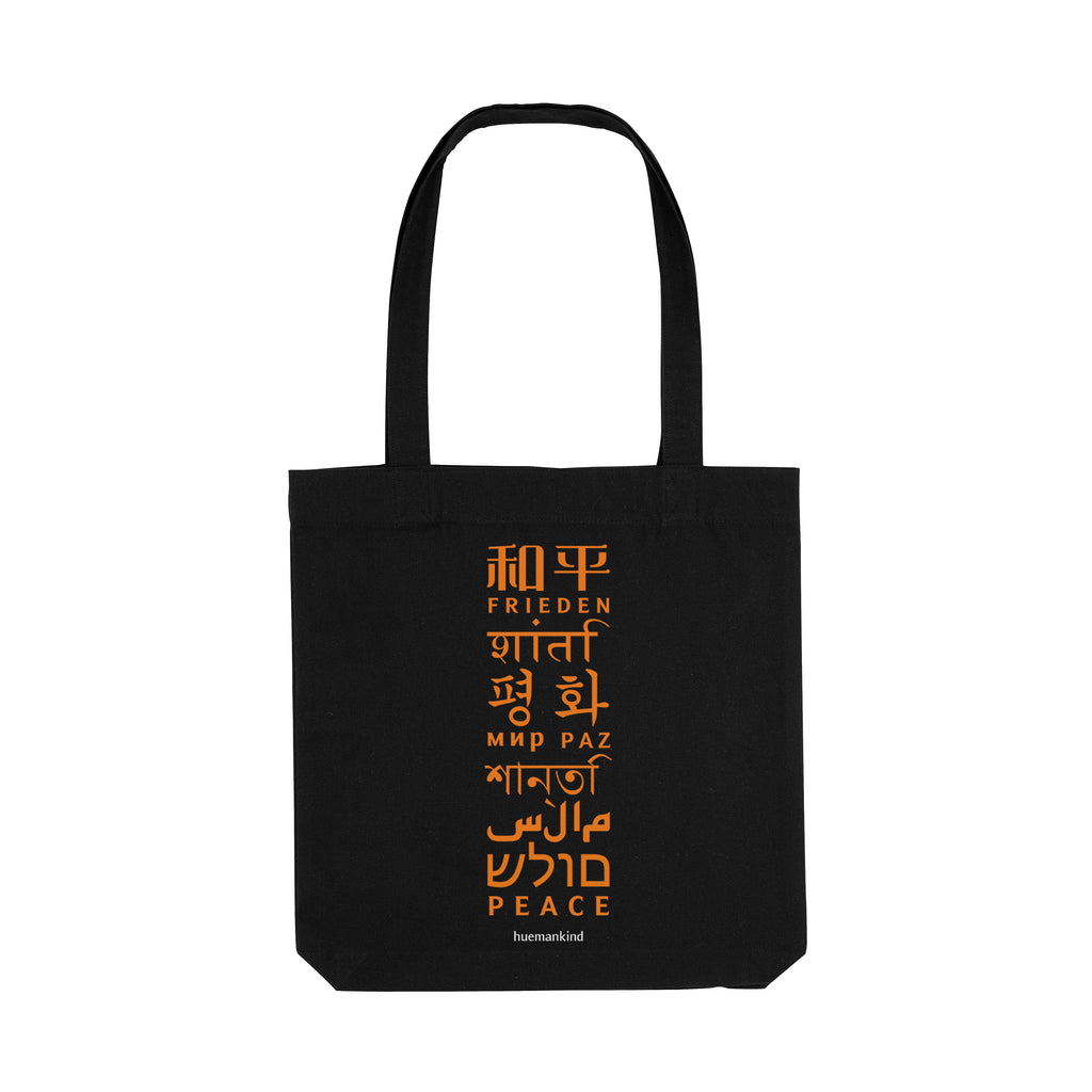 Huemankind Peace Language Organic Cotton Tote Bag - Huemankind.World