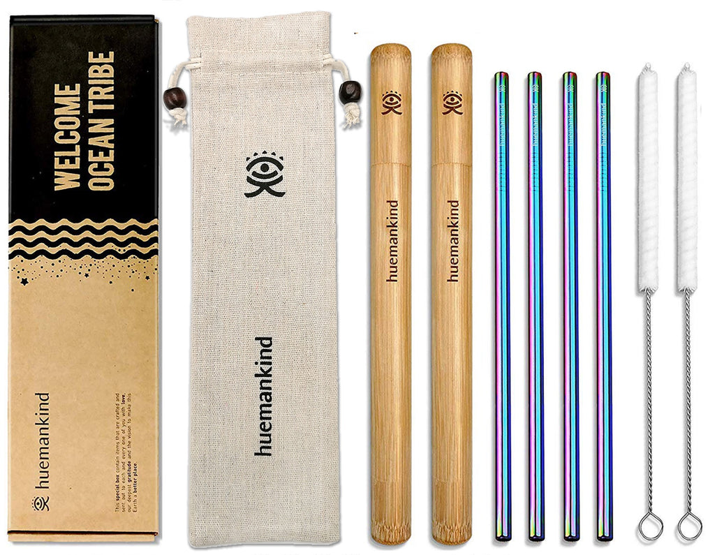Huemankind Ocean Saviour Reusable Metal Straws with Cases