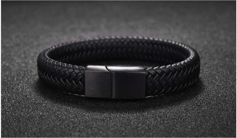 Braided Stainless Steel Leather Bracelet