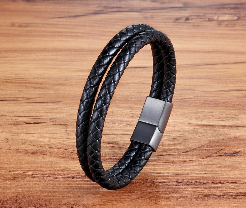 Classic Stainless Steel Leather Bracelet