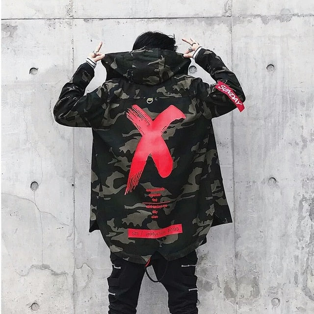 Camo Print Hooded Windbreaker