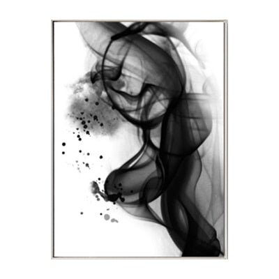 Black White Smoke Abstract Canvas
