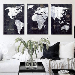 Black White World Map Vintage Canvas
