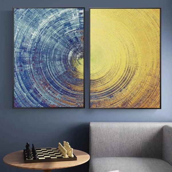 Blue Yellow Circle Pattern Canvas