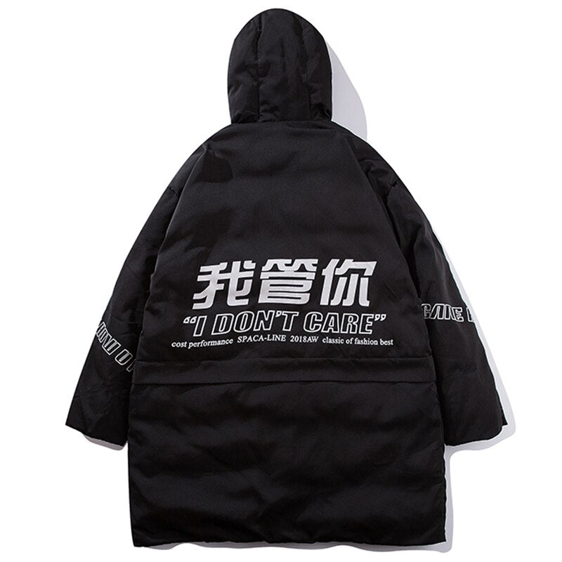 Letter Print Hooded Parka
