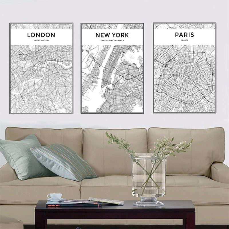 City Maps Print Canvas