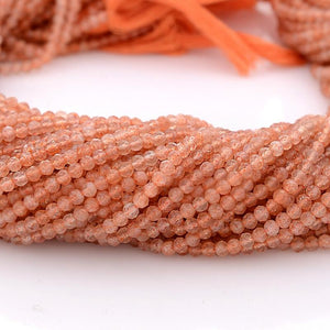 Microfacets 2.75 mm Sunstone AAA++ Quality Natural Gemstone Genuine Callibrated Faceted Rondelle Round Beads Strand 13 Inch