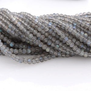 Microfacets 2.5 mm Labradorite AAA++ Quality Natural Gemstone Genuine Callibrated Faceted Rondelle Round Beads Strand 13 Inch
