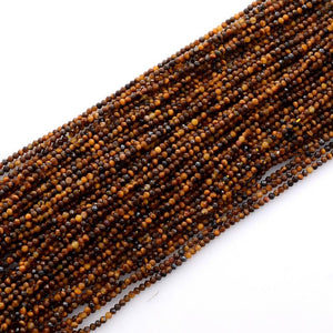 Microfacets 2.25 mm Tiger's Eye AAA++ Quality Natural Gemstone Genuine Callibrated Faceted Rondelle Round Beads Strand 13 Inch