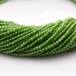 Microfacets 2 mm Chrome Diopside Natural Gemstone Genuine Callibrated Faceted Rondelle Round Beads Strand 13 Inch