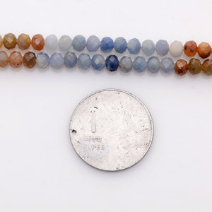 Microfacets Corundum Shaded 5.00-5.25 mm Natural Gemstone Genuine Callibrated Faceted Rondelle Round Beads Strand 13 Inch