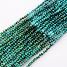 Load image into Gallery viewer, Microfacets 3.25 mm Turquoise AAA++ Quality Natural Gemstone Genuine Callibrated Faceted Rondelle Round Beads Strand 13 Inch