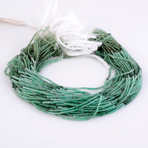 Microfacets 2.25 mm Emerald AAA++ Quality Natural Gemstone Genuine Callibrated Faceted Rondelle Round Beads Strand 13 Inch