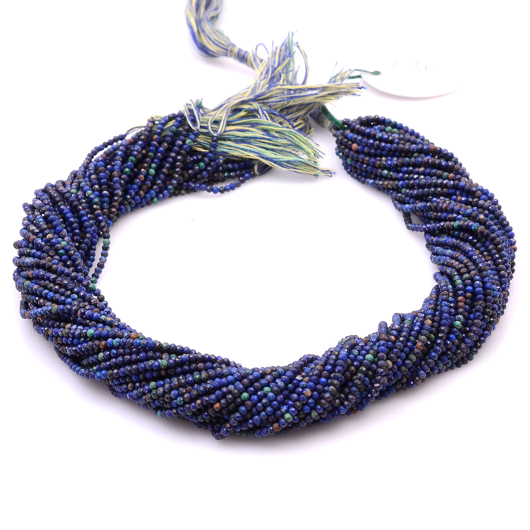 Microfacets 2.25 mm Azurite AAA++ Quality Natural Gemstone Genuine Callibrated Faceted Rondelle Round Beads Strand 13 Inch