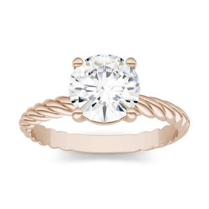 Moissanite 1.00CTW Twist Solitaire Engagement Ring Hearts & Arrows in 14K Rose Gold