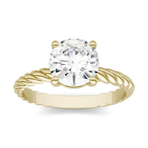 Moissanite 1.00CTW Twist Solitaire Engagement Ring Hearts & Arrows in 14K Yellow Gold