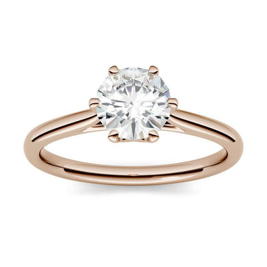 Moissanite 1.00CTW Solitaire Engagement Ring Six Prong Hearts & Arrows in 14K Rose Gold