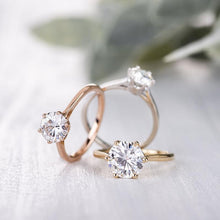 Load image into Gallery viewer, Moissanite 1.00CTW Solitaire Engagement Ring Six Prong Hearts & Arrows in 925 Sterling Silver