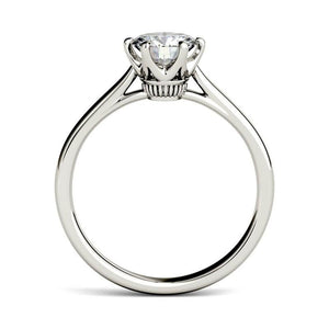 Moissanite 1.00CTW Solitaire Engagement Ring Six Prong Hearts & Arrows in 925 Sterling Silver