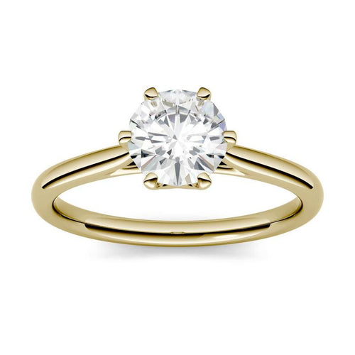 Moissanite 1.00CTW Solitaire Engagement Ring Six Prong Hearts & Arrows in 14K Yellow Gold