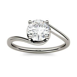 Moissanite 1.00CTW Solitaire Engagement Ring Swirl Bypass Hearts & Arrows in 925 Sterling Silver