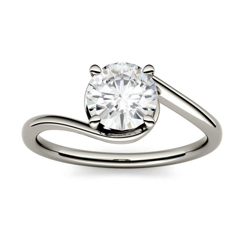 Moissanite 1.00CTW Solitaire Engagement Ring Swirl Bypass Hearts & Arrows in 14K White Gold