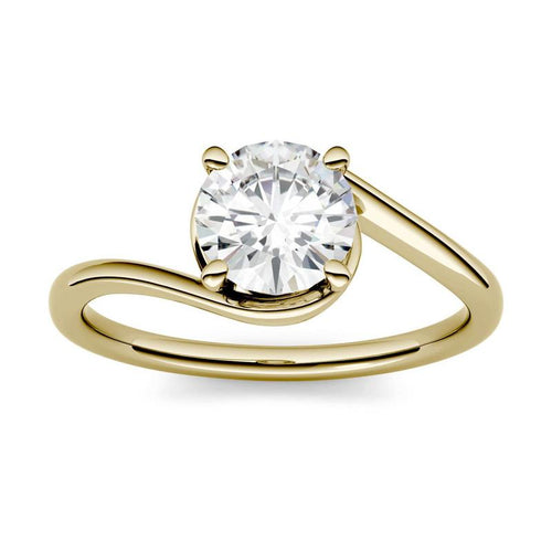 Moissanite 1.00CTW Solitaire Engagement Ring Swirl Bypass Hearts & Arrows in 14K Yellow Gold