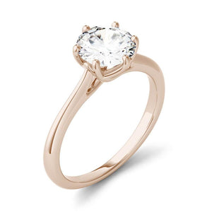 Moissanite 1.00CTW Solitaire Trellis Engagement Ring Six Prong Hearts & Arrows in 14K Rose Gold
