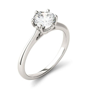 Moissanite 1.00CTW Solitaire Trellis Engagement Ring Six Prong Hearts & Arrows in 925 Sterling Silver