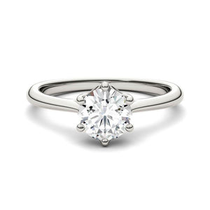 Moissanite 1.00CTW Solitaire Trellis Engagement Ring Six Prong Hearts & Arrows in 14K White Gold