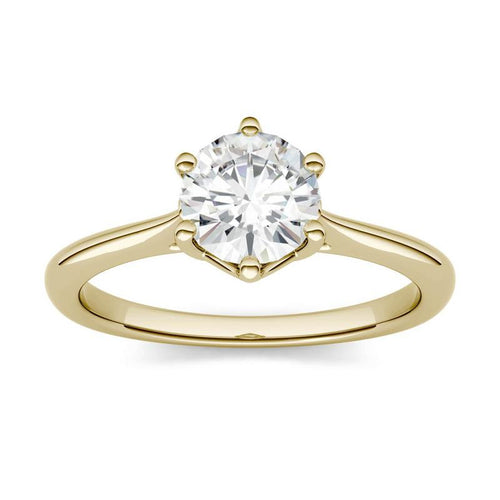 Moissanite 1.00CTW Solitaire Trellis Engagement Ring Six Prong Hearts & Arrows in 14K Yellow Gold