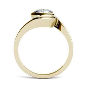 Moissanite 1.00CTW Solitaire Engagement Ring Bezel Wrap Hearts & Arrows in 14K Yellow Gold