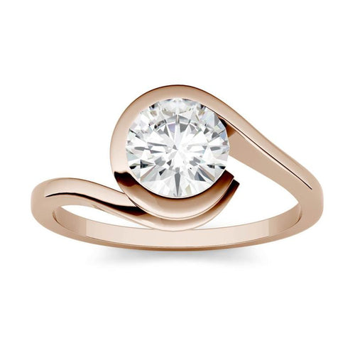 Moissanite 1.00CTW Solitaire Engagement Ring Bezel Wrap Hearts & Arrows in 14K Rose Gold