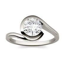 Load image into Gallery viewer, Moissanite 1.00CTW Solitaire Engagement Ring Bezel Wrap Hearts & Arrows in 925 Sterling Silver