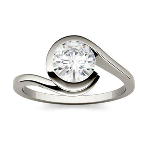 Moissanite 1.00CTW Solitaire Engagement Ring Bezel Wrap Hearts & Arrows in 925 Sterling Silver