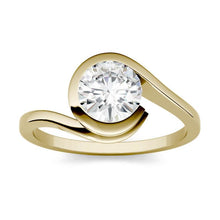 Load image into Gallery viewer, Moissanite 1.00CTW Solitaire Engagement Ring Bezel Wrap Hearts & Arrows in 14K Yellow Gold