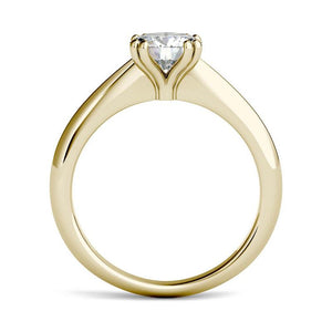 Moissanite 1.00CTW Solitaire Engagement Ring Double Prong Hearts & Arrows in 14K Yellow Gold