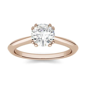 Moissanite 1.00CTW Solitaire Engagement Ring Double Prong Hearts & Arrows in 14K Rose Gold