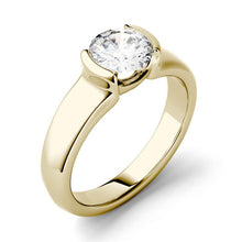 Load image into Gallery viewer, Moissanite 1.00CTW Solitaire Engagement Ring Half Bezel Hearts & Arrows in 14K Yellow Gold