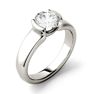 Moissanite 1.00CTW Solitaire Engagement Ring Half Bezel Hearts & Arrows in 925 Sterling Silver