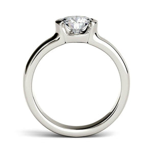 Moissanite 1.00CTW Solitaire Engagement Ring Half Bezel Hearts & Arrows in 14K White Gold