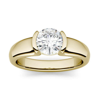 Moissanite 1.00CTW Solitaire Engagement Ring Half Bezel Hearts & Arrows in 14K Yellow Gold