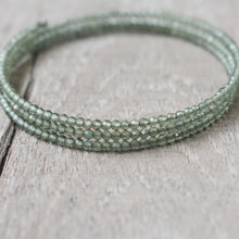 Load image into Gallery viewer, Green Apatite Gemstone Adjustable 3-Loop Memory Wire Bangle, Bracelet