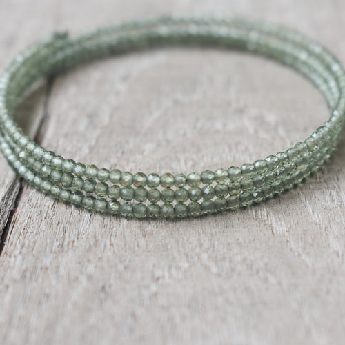 Green Apatite Gemstone Adjustable 3-Loop Memory Wire Bangle, Bracelet